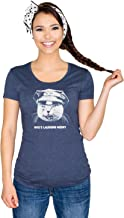 Headline Shirts Who's Laughing Meow Funny Graphic Screen Printed Crewneck T-Shirt for Women