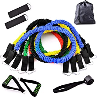 HOONSO Resistance Bands Set 11 Pieces Include 5 Stackable Exercise Bands with Door Anchor, Ankle Straps, Foam Handles and Carrying Bag for Home Fitness Workouts, Physical Therapy