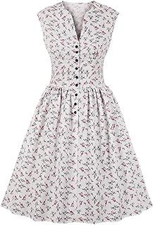 فستان شاي كلاسيكي للنساء من Wellwits برقبة مقسومة بزر زهري في يوم الأربعين يوم 1940 أبيض مقاس 4XL