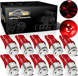 Partsam 1 Set (10pcs) Red LED Bulbs Car Trunk Interior Dome Map Lights 5-5050-SMD 12V T10 Wedge 194 168 W5W 158 2886X