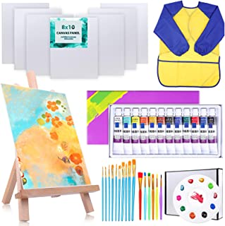 38Pack Kids Canvas Painting Set, Shynek Kids Acrylic Painting Supplies Kit with 7 Blank Canvases and Easel Kids Paint Brus...