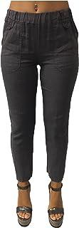 LA FEE MARABOUTEE Pantalone Donna Grigio Corto Caviglia 100% Lino Made in Italy