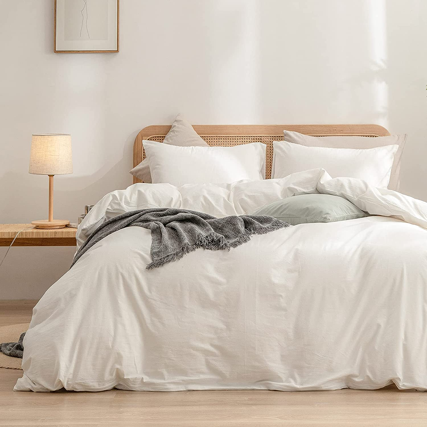 BESTOUCH Duvet Cover New Reservation Orleans Mall Set 100% Washed Linen Super Feel Sof Cotton