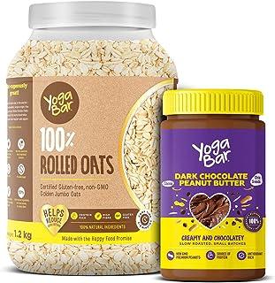 Yogabar Dark Chocolate Peanut Butter | 100% Premium Golden Rolled Oats Combo Pack