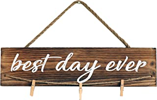 """Barnyard Designs Best Day Ever Wood Photo Display with Clips - Hanging Picture Display Wall Decor 17"""" x 4.25"""""""