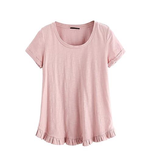 5900348707 SheIn Women's Casual Loose Ruffled Hem T-Shirt Tee