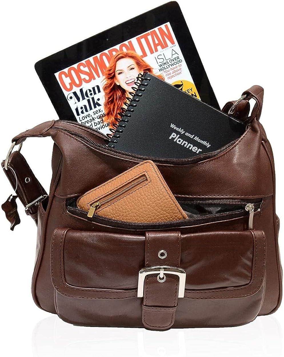 AFONiE Collection Timeless Genuine Leather Shoulder Handbag Brown