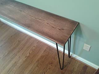 Red Oak Console Table with Black Walnut and Danish Oil Finish on black hairpin legs