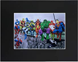 XQArtStudio Superheroes Superhero Superman Batman Spiderman The Hulk 8x10 Black Matted Art Artworks Print Paintings Printed Picture Photograph Poster Gift Wall Decor Display