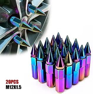 Catinbow 60mm M12X1.5 Wheel Lug Nuts Extended Spike Aluminum Mounted Nut Refit Lug Nuts Set of 20 - Neon Chrome