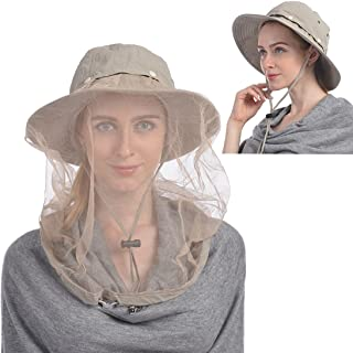 Mosquito Head Net Hat, Safari Hat Sun Hat Bucket Hat with Hidden Net Mesh Protection from Insect Bug Bee Mosquito Gnats for Outdoor Lover Men or Women
