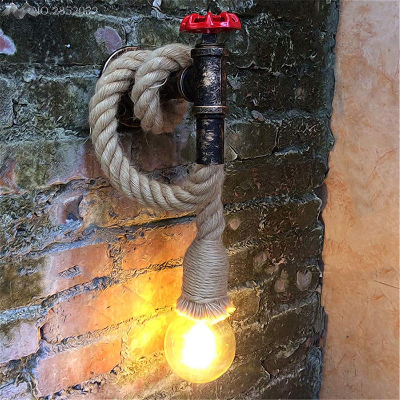 Tubería de agua creativa Estilo Loft Retro Edison Lámparas de parojo, luz de parojo de cuerda de cáamo retro para galería Escaleras Luces para luz industrial