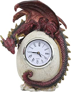 Ebros Red Ember Dragon Protecting Egg Table Clock Figurine 7