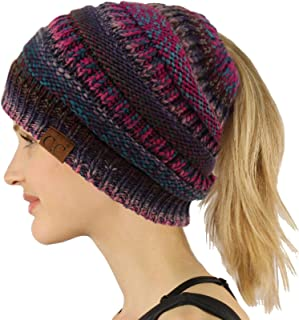 Ponytail Messy Bun BeanieTail Soft Winter Knit Stretchy Beanie Hat Cap