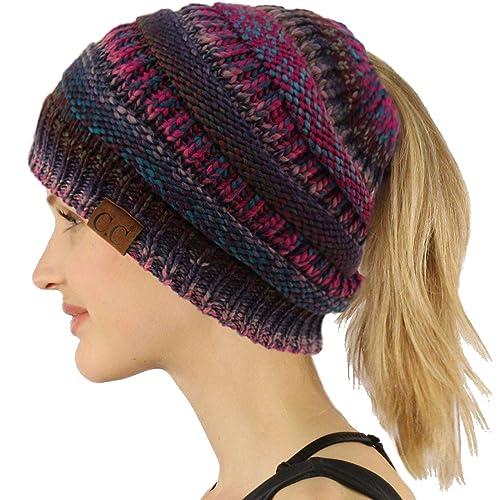 9461b9cc204 Ponytail Messy Bun BeanieTail Soft Winter Knit Stretchy Beanie Hat Cap