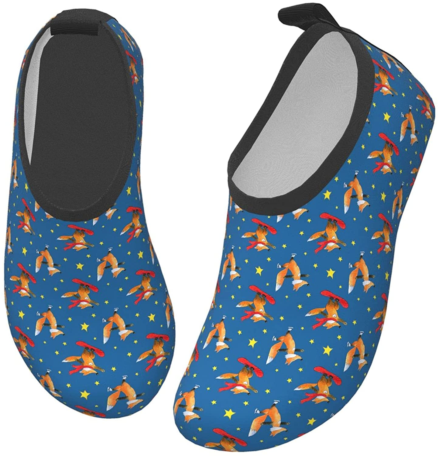 Funny Fox Skateboarding Stars Cute Children's Water Shoes Feel Barefoot for Swimming Beach Boating Surfing Yoga