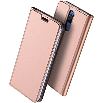 Mate 10 Lite 手帳型 ケース、uovon 軽量 Huawei Mate10 Lite 対応 ポケット カード収納ありマグネット スタンド機能付き [高級 PU レザー+TPU素材] 全面保護カバー (Mate 10 Lite, ローズゴールド)