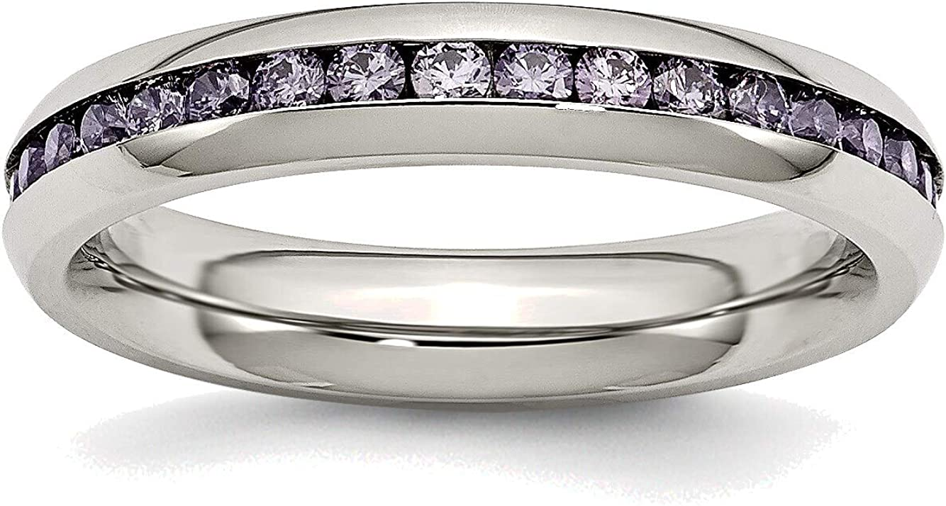 New Free Shipping Bonyak Jewelry Stainless Steel 4mm February in CZ St Max 77% OFF Purple Ring