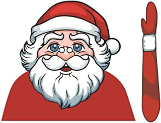 FEE-ZC 3Pcs Rear Window Wiper Decal, 3D Funny Cartoon Festive Car Santa Reindeer Waving Wiper Arms Reusable Waterproof Vin...