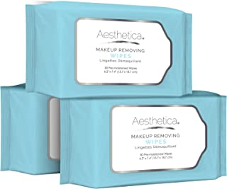 Aesthetica Makeup Removing Wipes - Facial and Eye Makeup Remover Wipes - 3 Pack Bulk (90 Wipes Total) Hypoallergenic & Dermatologist Tested - Oil & Fragrance Free - Made in USA