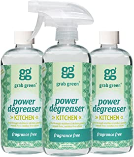 Grab Green Naturally-Derived, Fragrance Free, 16 Ounce Bottle (3-Pack), Biodegradable Power Degreaser, Residue & Streak-Free Finish, Non-Toxic