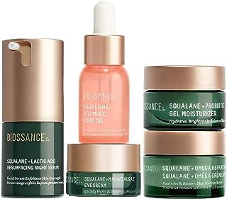 Biossance Overachievers Set - 5-Piece Set - Lactic Acid Night Serum, Vitamin C Rose Oil, Omega Repair Cream, Marine Algae ...