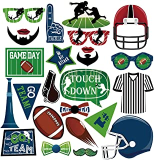 Cieovo 25 Pcs Football Photo Booth Props Kit, American Football Party Supplies Decoration Photography Props Accessories for Frenzy Sport Game Day Themed Birthday Party Supplies Favors