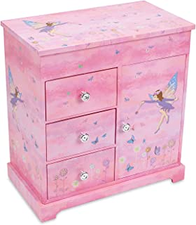 (Fairy and Flowers) - JewelKeeper Musical Box with 3 Pullout Drawers, Fairy and Flowers Design, Dance of The Sugar Plum Fairy Tune