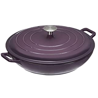 "AmazonBasics, Purple Enameled Cast Iron Covered Casserole-3.3-Quart, Dia12.4 length 15.03"" Height5 Capacity:3.3QT"