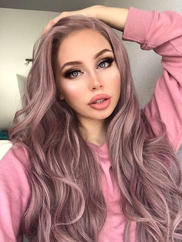 eNilecor Ash Pink Lace Front Wigs, Long Wave Dusty Rose Gold Synthetic Natural Color Side Part Wig for Women (Ash Pink)