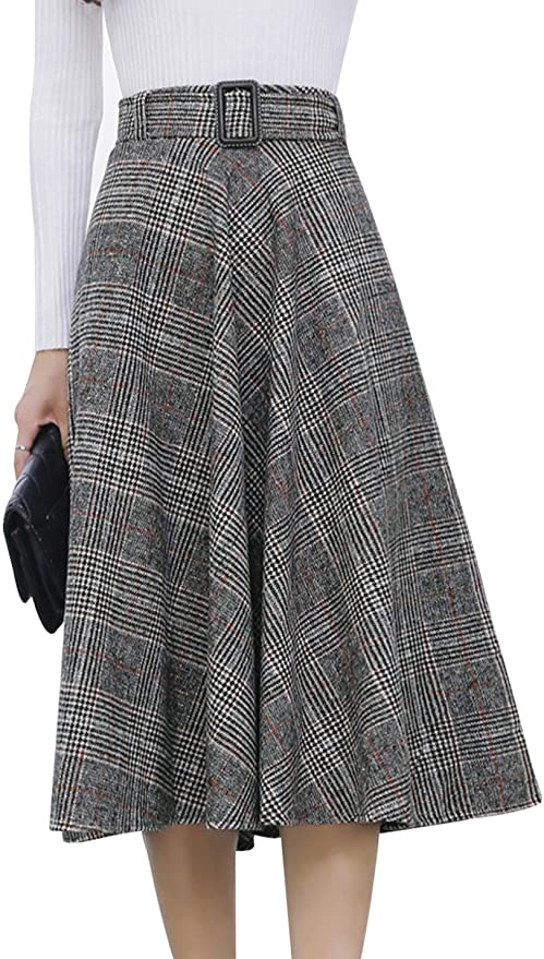 1940s Style Skirts- Vintage High Waisted Skirts Tanming Womens Elastic Waist Belted Wool Blend Check Plaid Midi Skirt  AT vintagedancer.com