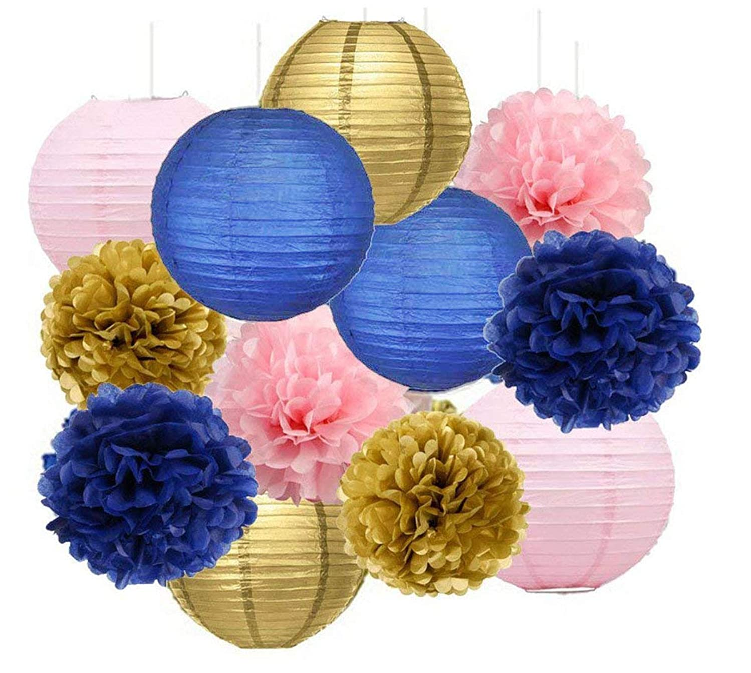 Navy Gold Pink Bridal Shower Decorations Furuix Navy Gold Pink Tissue Paper Pom Pom Paper Lanterns Navy Blue Birthday Party Girls Baby Shower |Mom Birhtday|Graduation Party