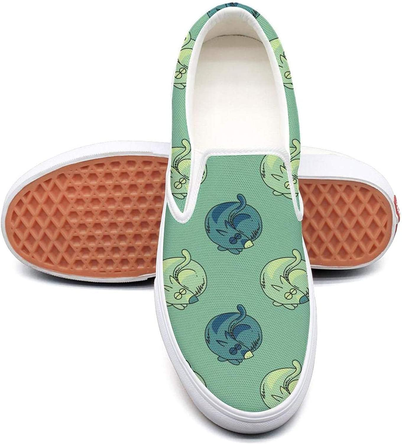 Sleeping Dog in Green Womens Latest Slip on Low Top Canvas Sneakers
