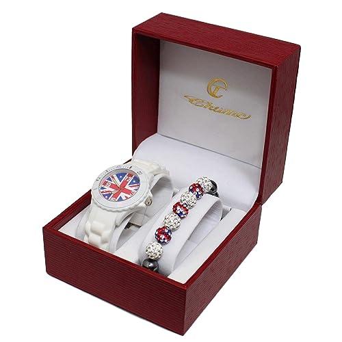 COFFRET MONTRE ENFANT ADO LONDON LONDRES + BRACELET SHAMBALLA DRAPEAU ANGLAIS