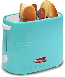 Americana ECT-542BL Retro Pop-Up Hot Dog Toaster Cooker Machine, Blue