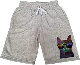 Men's Galaxy Rave Cat B673 Gray Fleece Jogger Sweatpants Gym Shorts