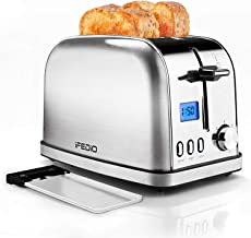 Toaster 2 Slice Stainless Steel Toasters,LCD Timer Display Compact Toaster Extra Wide Slots with 7 Bread Shade Settings&Defrost/Bagel/Cancel/Reheat Function,Removable Crumb Tray,900W Silver Toaster