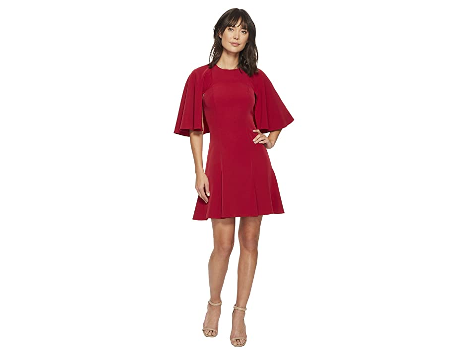 Laundry by Shelli Segal Twill Fit and Flare Dress (Ruby Lipstick) Women
