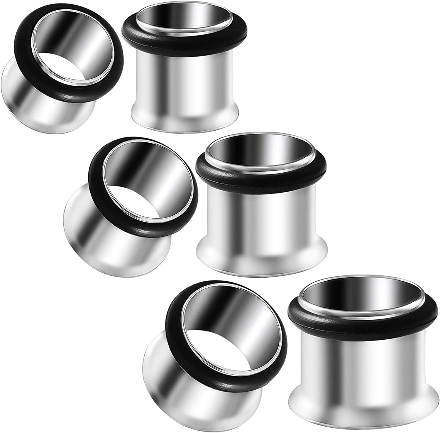 BIG GAUGES 3 Pairs 316L Surgical Steel Single Flared Piercing Jewelry Stretcher Ear Plug O-Ring Earring Lobe Tunnel