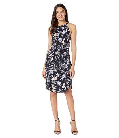 1.STATE Paisley Fields Halter Neck Tie Front Dress (Blue Night Multi) Women