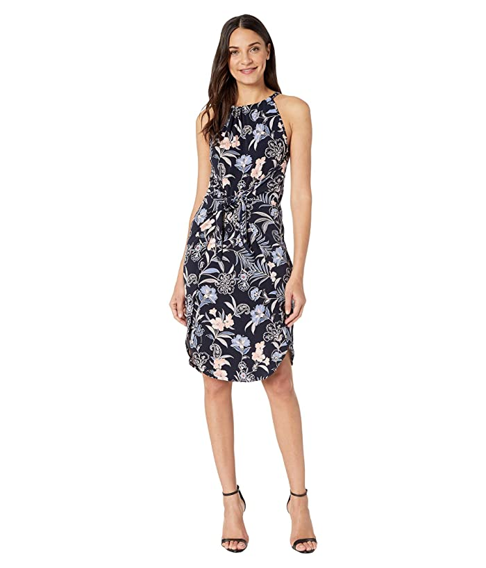 1.STATE  Paisley Fields Halter Neck Tie Front Dress (Blue Night Multi) Womens Dress