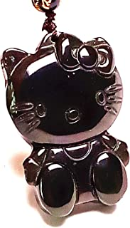 Yigedan Women Natural Rainbow Obsidian Cartoon Kitty Pendant Wishful Handmade Gemstone Necklace