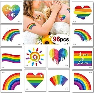 96 Sheets Rainbow Temporary Tattoos, Konsait Rainbow Flag Heart Tattoos Waterproof Body Art Sticker for Girls Boys Party Favors Pride Equality Parades Celebrations
