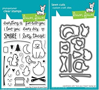 Lawn Fawn Love You S'more Clear Stamp and Die Set - Includes One Each of LF671 (Stamp) & LF672 (Die) - Custom Set