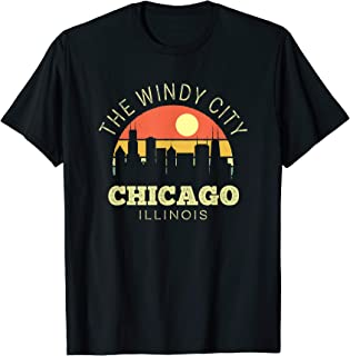Chicago The Windy City Vintage Sunset Classic Skyline T-Shirt