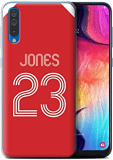 Personalized Custom Soccer Club Jersey Shirt Kit Gel/TPU Case for Samsung Galaxy A50 2019 / Red White Design/Initial/Name/Text DIY Cover