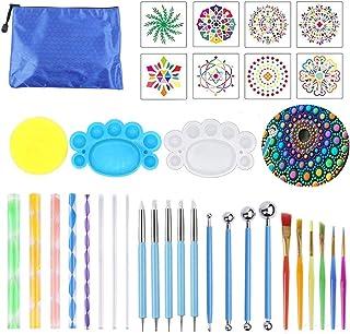Sweieoni 35 Pièces Kit Outil Peinture pour Mandala, Pochoir Mandala, Pinceau DIY Outils de Pointage Mandala, Y Compris tig...