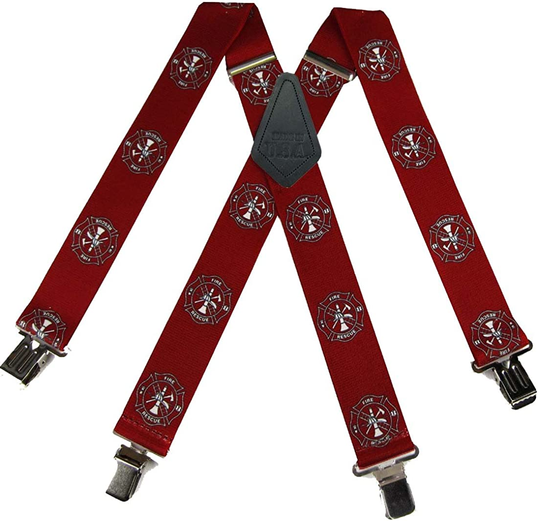 Mens Emergency Fire and EMT Themed Suspenders