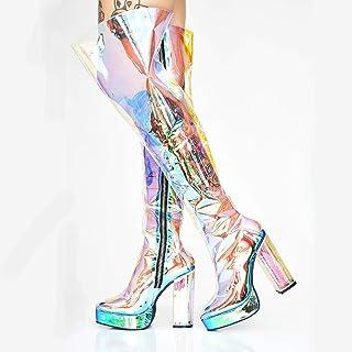 Mujer Botas Sobre la Rodilla,Botas de tacón grueso de PVC transparente de colores Botas altas de muslo de discoteca,Slim K...