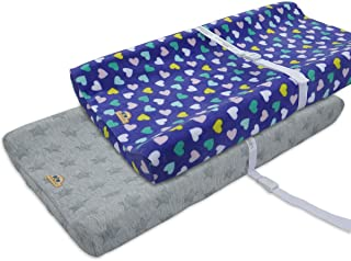 BlueSnail Plush Super Soft and Comfy Changing Pad Cover for Baby 2-Pack (Blue+Grey)
